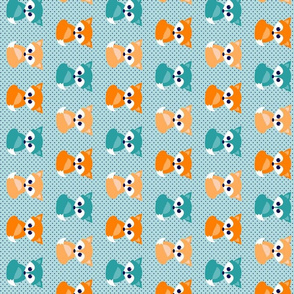 Baby foxes - turquoise, navy, orange - rotated