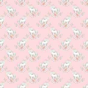 "Micro 1"" Unicorn on Petal Pink"
