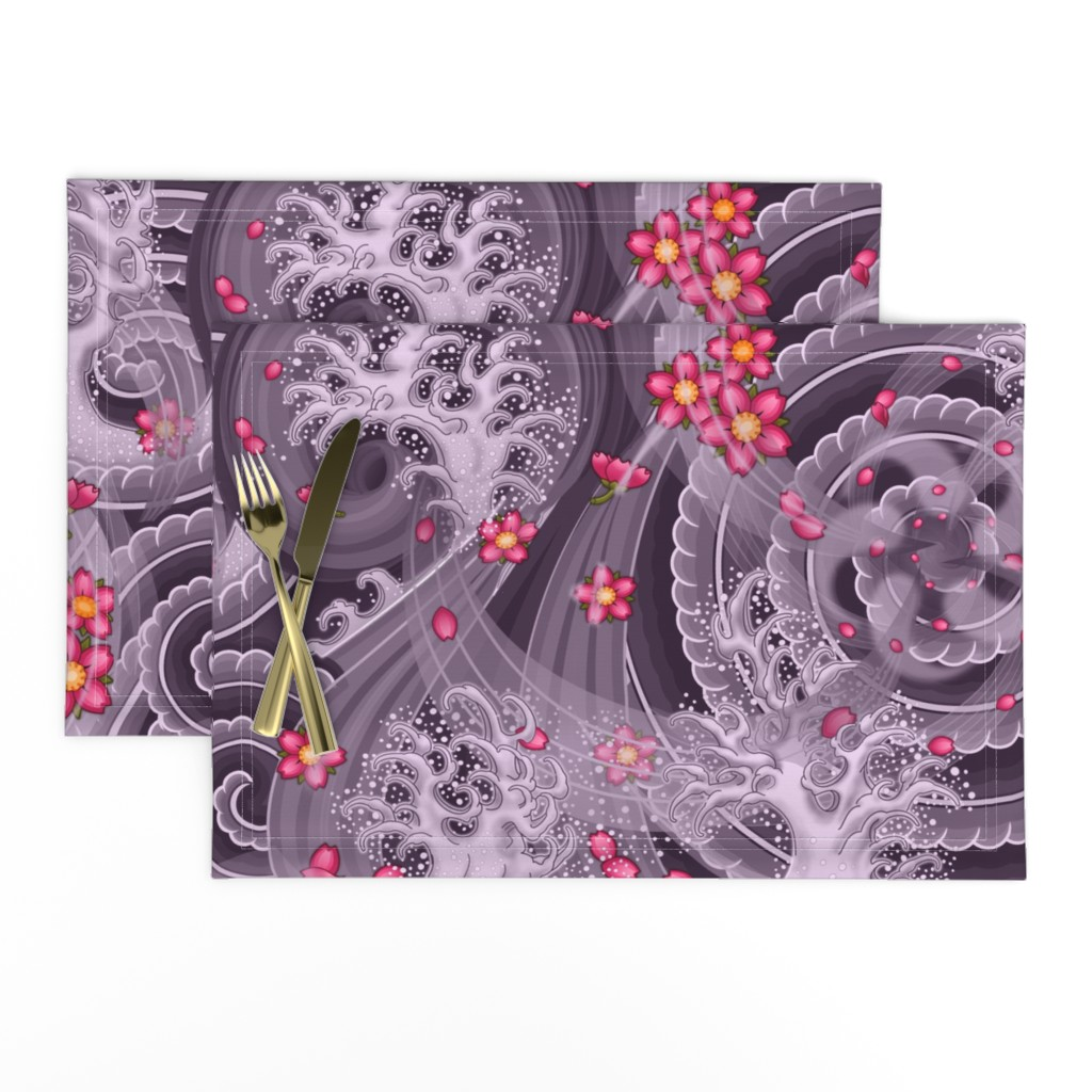Lamona Cloth Placemats featuring ★ SAKURA ★ Pink Cherry Blossom Japanese Tattoo / Purple Background - Jumbo Scale / Collection : Irezumi - Japanese Tattoo Prints by borderlines