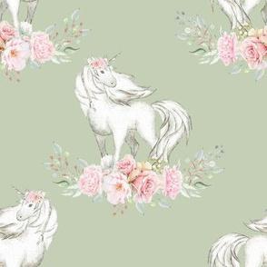 """4"""" Floral Unicorn on Sage"""