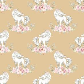 "2"" Floral Unicorn on Wheat"
