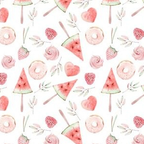 "10""  Watermelon fabric, melon fabric, summer fabric , strawberries and sweets fabric"