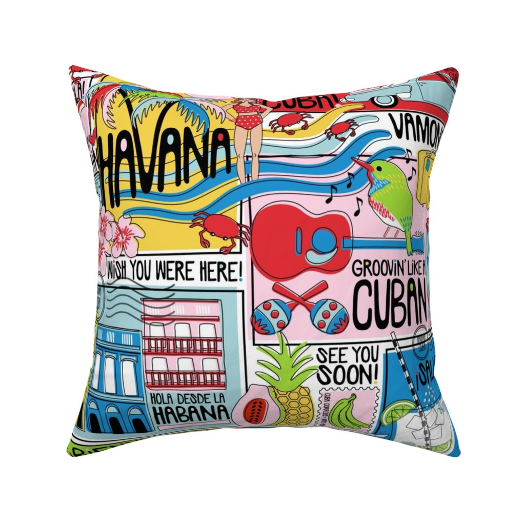 Catalan Throw Pillow featuring Hola Cuba! by nanshizzle