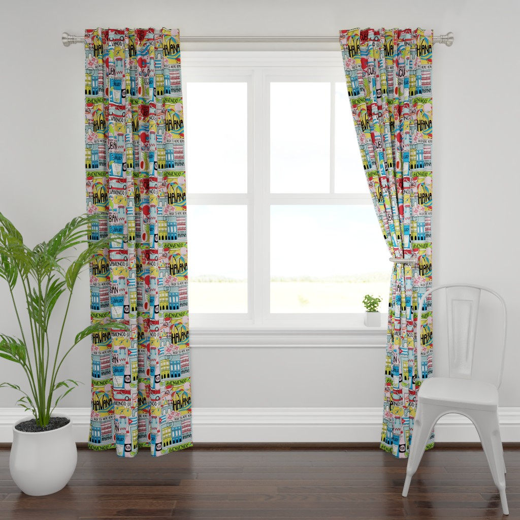 Plymouth Curtain Panel featuring Hola Cuba! by nanshizzle
