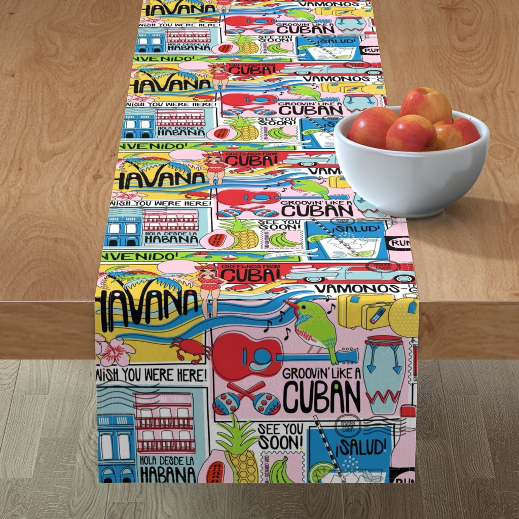 Minorca Table Runner featuring Hola Cuba! by nanshizzle