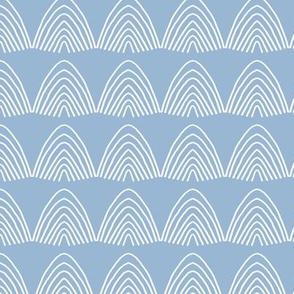 Little abstract scallop mountain shapes minimal design rainbow sky Scandinavian  mudcloth theme blue