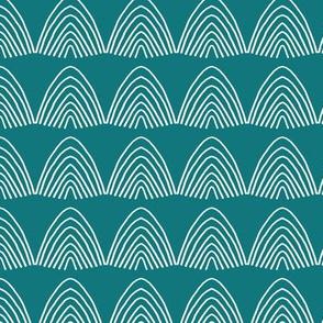 Little abstract scallop mountain shapes minimal design rainbow sky Scandinavian mudcloth winter blue green ocean