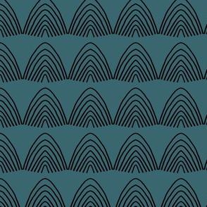 Little abstract scallop mountain shapes minimal design rainbow sky Scandinavian mudcloth winter dark blue stone