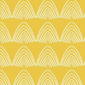 Little abstract scallop mountain shapes minimal design rainbow sky Scandinavian mudcloth summer fall yellow ochre