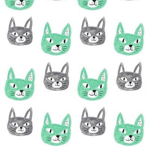 Minty Green and Gray Kitty Faces