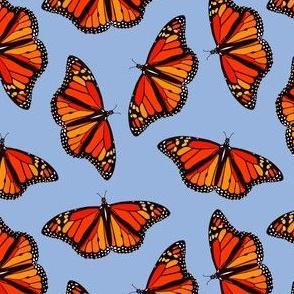 Monarch Butterflies pattern on periwinkle blue - small