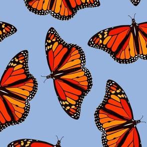 Monarch Butterflies pattern on periwinkle blue - large
