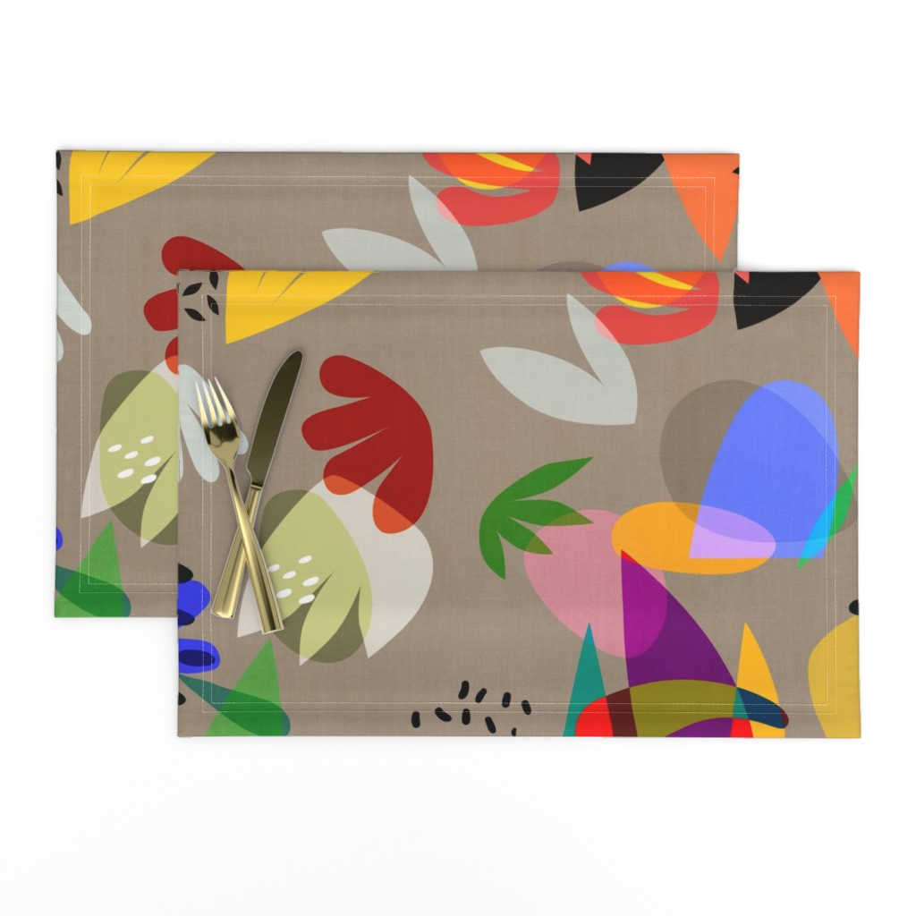 Lamona Cloth Placemats featuring Matisse Cutouts Linen by barbara_moffett