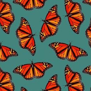 Monarch Butterflies pattern on teal - small