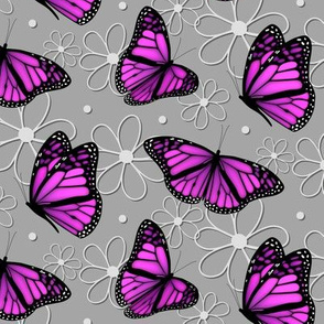 pink purple butterflies and doodle flowers pattern on gray - large