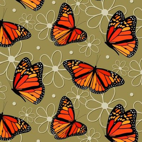 Monarch butterflies and doodle flowers pattern on Willow - large
