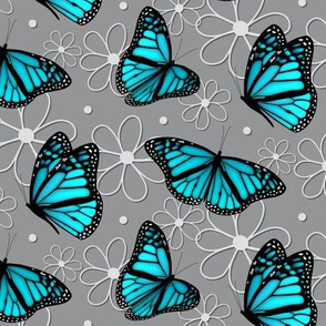 turquoise blue butterflies and doodle flowers pattern on gray - large