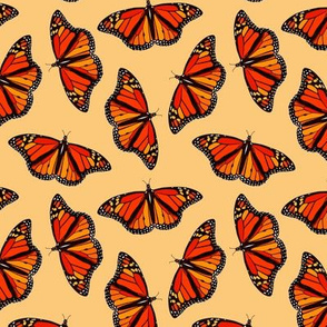 Monarch Butterflies pattern on golden yellow - large