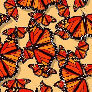 Lots of Monarch Butterflies pattern on golden yellow