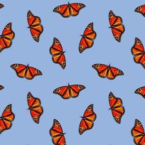Monarch Butterflies pattern on periwinkle blue