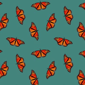 Monarch Butterflies pattern on teal