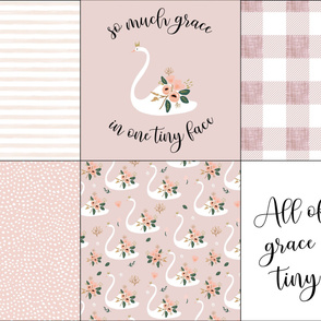 combo 6 loveys: blushy gouache stripes, so much grace in one tiny face swan, 66-9 linen buffalo check,  58-9 scalloping dots, floral swans, all of god's grace in one tiny face