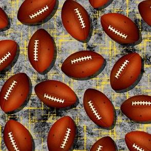 Footballs gray black grunge texture w gold accent pattern sports