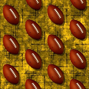 Footballs on gold w black accent pattern black grunge texture sports