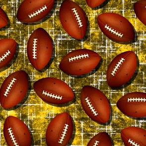 Footballs on gold w white accent black grunge texture sports pattern