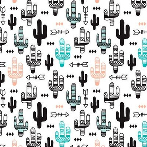 Fun aqua and coral pink cactus garden indian summer arrows geometric illustration pattern kids print small