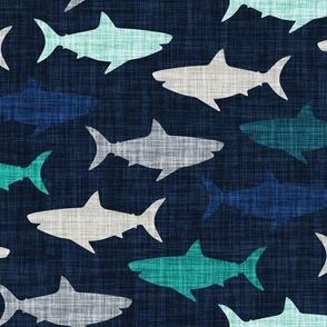 """4"""" linen sharks // on navy linen"""