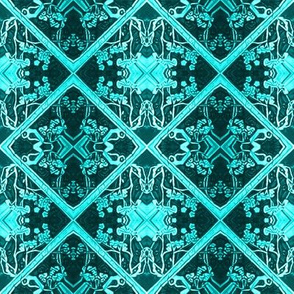 Aqua and Black Faux Brocade