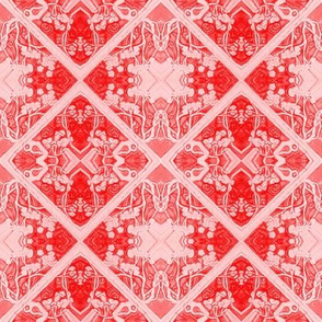 Red and Pink Faux Brocade
