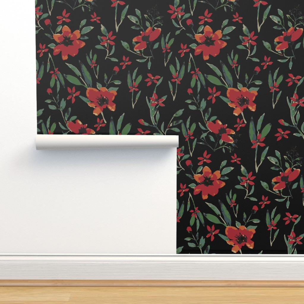 Isobar Durable Wallpaper featuring Watercolor floral  (moonlight) by suraan