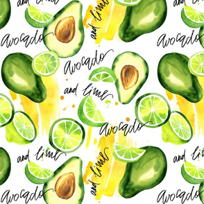 Avocado and lime. Lettering