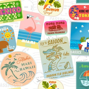 Vintage travel stickers (white)