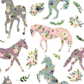 floral patchwork horses