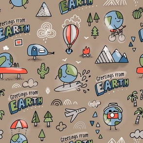 Greetings from Earth. Travel design.