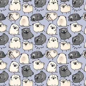 Pug Poses - dusky lavender