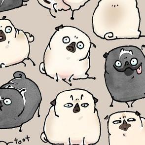 Pug Poses - dark khaki
