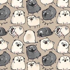 Pug Poses - gray brown