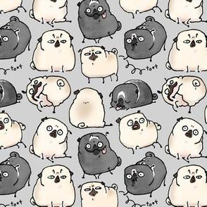 Pug Poses - gray