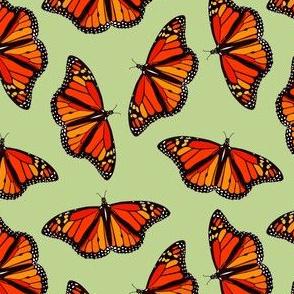 Monarch butterflies pattern on mint green - small