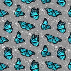 Lots of Monarch butterflies pattern on mint green