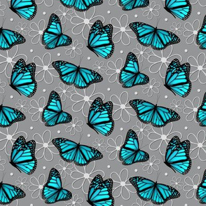 turquoise blue butterflies and doodle flowers pattern on gray - small