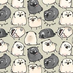 Pug Poses - sage