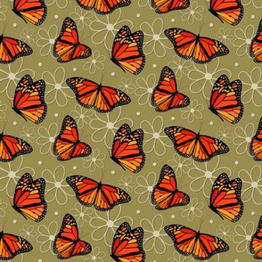 Monarch butterflies and doodle flowers pattern on Willow - small