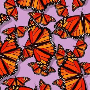 Lots of Monarch butterflies pattern on lilac purple