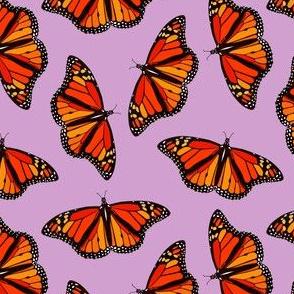 Monarch butterflies pattern on lilac purple - small