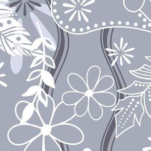 Feathers flowers paislies boho - Large - slate blue white